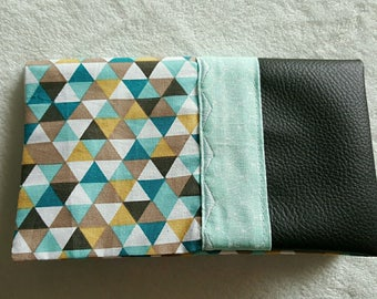 Black faux leather checkbook cover and matching Scandinavian inspired geometric fabric