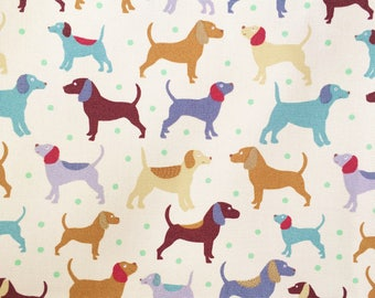 Dogs fabric - Dogs & Pups fabric - upholstery canvas - animal fabric - cream canvas - furnishings cotton canvas