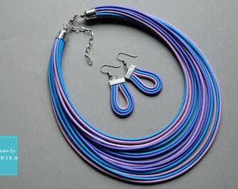 multi strand necklace / textile jewelry / statement necklace / jewelry sets / textile jewelry / boho jewelry / rainbow jewelry