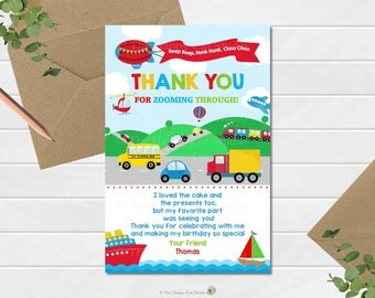 Transportation Birthday Thank You Card, Thank You Note, Automobile Party, Car, Plane, Train, Truck, Ship, Personalized Digital Printable