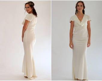 Classic, elegant ivory wedding dress, Pippa Middleton inspired bridesmaid dress, 100% wool crepe, Romantic, vintage inspired evening dress