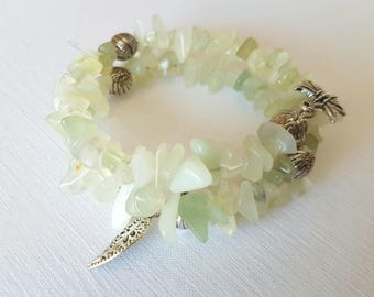 Jade & Tibetan Silver Memory Wire Wrap Bracelet With Tibetan Silver Beads and Charms. Adjustable / One size fits all.