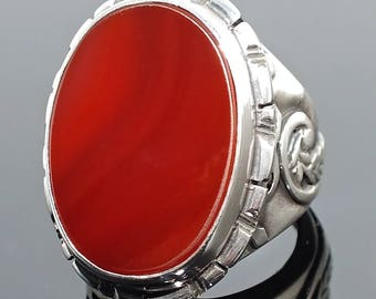 925 Sterling Silver Mens Ring Carnelian  Aqeeq Unique Handcrafted Artisan Jewellery
