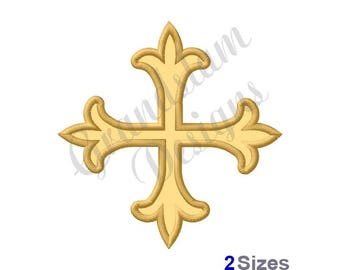 Cross Fleur De Lis - Machine Embroidery Design
