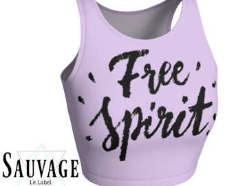 free spirit - Athletic pink and white Crop Top • Festivals and yoga classes approved • handmade in Montreal