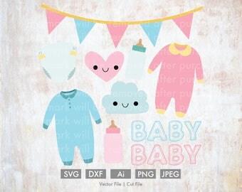 Mini Baby Bundle - Cut File/Vector, Silhouette, Cricut, SVG, PNG, Clip Art, Download, eps, garland, cloud, diaper, baby, bottle, set, heart