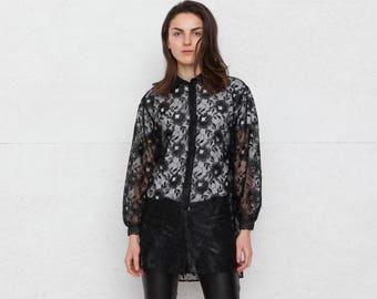 Vintage Black Transparent Shirt/ Size Medium