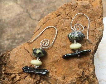 Yellow Turquoise Earring Beads.  Ethnic Earrings.  Earthtone Earrings.  Mixed Gemstone Earrings.