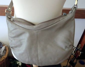 Tula (by Radley) vintage taupe soft leather shoulder bag with 2 zipped compartments