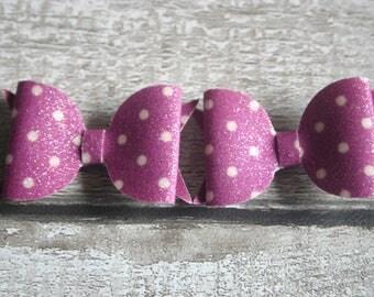 Polka Dot Bows, Polka dot hair clip, Purple Polka dot, Polka dot clips, Polka dot hair bows, Hair Barrettes