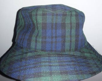 RARE Plaid Green & Blue Bucket Hat