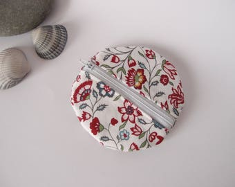 Porte-monnaie rond - tissu à fleurs vintage - porte monnaie fleuri plat - écru rouge rose bleu