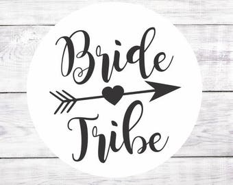 Bride Tribe Favor Stickers Favour Labels Bachelorette Party Hen Party Black White Glossy Beach Wedding Boho Tribal