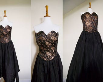 Vintage 1980's Gunne Sax Jessica McClintock Metallic Foiled Strapless Full Tulle Skirt Prom Dress / 80's Copper & Black Party Dress
