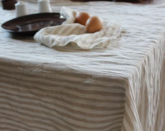 Stripes Linen Tablecloth-14 colors -Linen Tablecloth- Natural Linen Tablecloth-Wedding Tablecloth-choose your size/color #Dinner for Two#