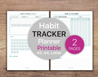 Habit tracker, 30 day challenge, Goal Tracker Printable, Daily habit tracker, Habit printable  | Printable, A4, A5, Letter.