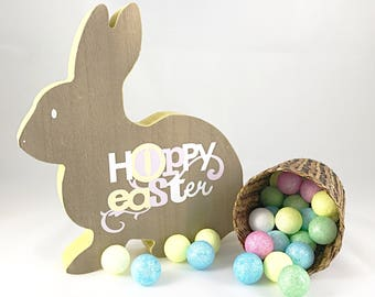 Wood easter bunny decor
