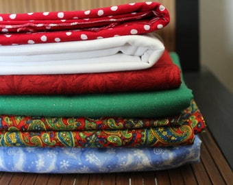Christmas / Winter holiday fabric remnant set