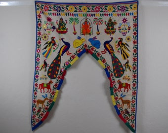 Authentic Indian door valance Home decor yoga wall hanging Hand embroided tapestry