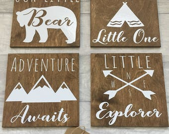 Our little bear, Bear wall sign set, nursery decor, scandi bear, adventure awaits, be brave wall art, little explorer