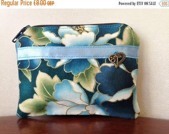 On sale Handmade cotton coin purse - blue Japanese print