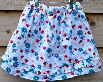 Ladybird skirt, summer skirt, cotton skirt, flower skirt, unique skirt, skirt with pleats, girl skirt, white skirt, pleated skirt, twirly
