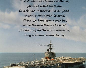 Navy In Memory Poem Laser Paper Print Item #1050