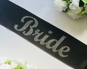 Rhinestones  Bridal sash - Bride Crystal Sash - Black Bride Sash - Bridal Sash - Wedding Sash - Bachelorette Party Sash