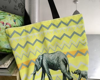 Elephant Chevron Crossing Mumma and Baba. Canvas Tote Bag. Beach, shopping, carrier bag  zig zag  Grey and yellow.