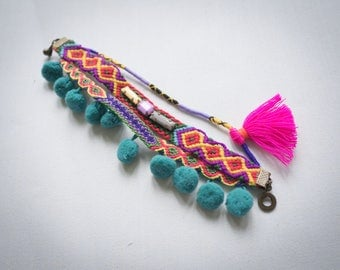 Colorful Woven Friendship Bracelet with Tassel and Pom poms, Tribal Bracelet, Pom poms Bracelet, Woven Bracelet