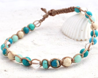 Gemstone macrame ankle bracelet for women,  Turquoise, howlite and quartz anklet, beach wear, gift for ladies and teenagers, beach wear.