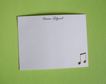 Music note personalized gold foil press stationery set of 10 with envelopes