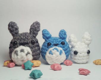 Totoro Family Plushie Set - Totoro Keychain, Totoro Plushie, Ghibli Plush, Ghibli Keychain, Bunny Keychain, Ghibli Doll, Couples Keychain