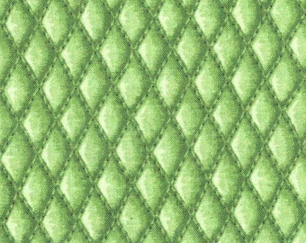SALE Tonal Bright Green Diamond Basket Weave Overall Pattern Tends Toward Quilting Weight Cotton Patty Reed for Fabric Traditions