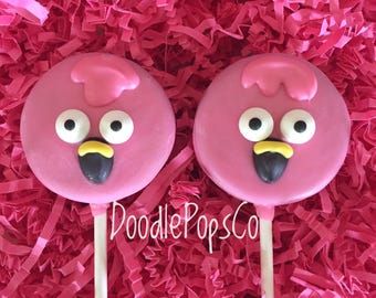 Pink flamingos Oreo cookie pops / flamingo party favor / baby shower / chocolate covered Oreo / one dozen (12)