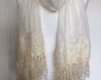 Handmade felted Nuno felted Ponge silk scarf Nunovilt with Wensleydale curls bridal wedding bride