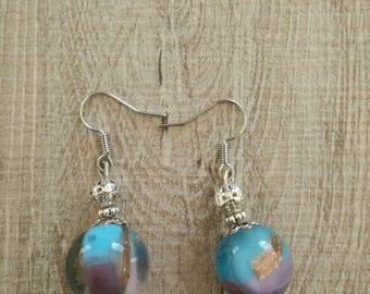 tricolor Ball pendant earrings