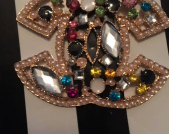 Jeweled cc brooch. Chanel inspired