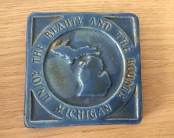 Vintage Pewabic Detroit Coaster / Tile Pewabic Pottery / James Blanchard / Enjoy the Beauty and the Bounty / Blue Ceramic Coaster