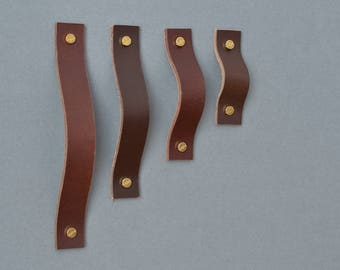 Lade Ny #4 Dark Brown Leather Handle / Leather Handles Leather Cabinet  Hardware Leather Drawer
