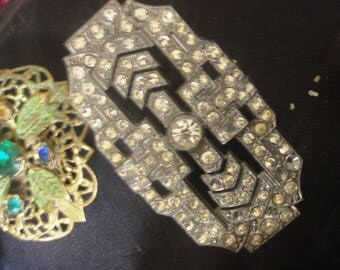 rhinestone BROOCH vintage assorted brooches. 1940/50s vintage clasp 145 engraved on back