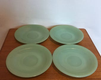 Four jadeite green Fire-king saucers plates Anchor vintage