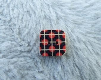 WOODEN SQUARE GEOMETRIC PATTERN BLACK AND RED