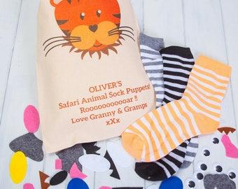 Personalised Safari Animal Sock Puppets Craft Kit