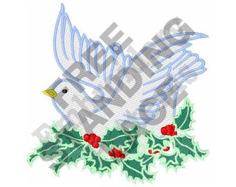 Dove In Holly - Machine Embroidery Design