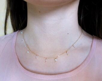 Beaded Necklace, Gold Necklace, 14k Gold Filled Necklace, Pearl Necklace, Minimal Necklace, Choker, Delicate Necklace, Tassel Necklace