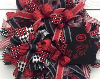 Best Football Wreath, Sports Wreath, College Wreath, UGA Wreath, Georgia Bulldogs, Front Porch Wreath, Football Wreath, Best Fall Wreath