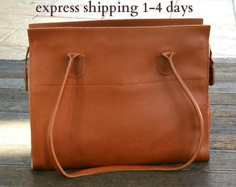 leather tote bag/ womens leather handbag/ shoppers bag/ shoulder bag/ genuine leather tote/ brown tote/ womens tote/ code 60 Cognac colour