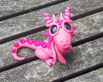 Pink dragon miniature,  polymer clay.