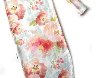 READY TO SHIP! Pink Floral cocoon Swaddle Sack, Baby Girl Sleeping Sack, Cocoon Sack, Newborn Baby Swaddle, sleep sack, headband, swaddle,